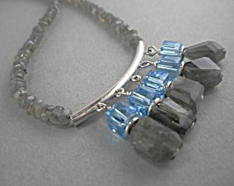 Iridescent Blue in a Gray Labradorite Necklace