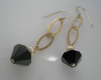 Black and Gold Long Dangle Earrings