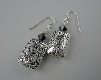 Floral Designed and Black Crystal Sterling Silver Earrings