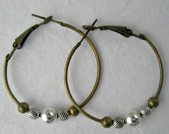 Hoop Antiqued Bronze Earrings with Mixed Metal Accents