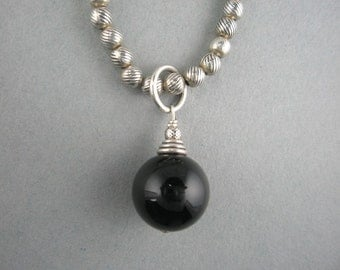 Textured Bali Beaded Necklace with Onyx Round Drop Dangle