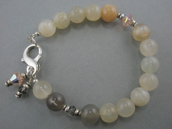 Quartz Handmade Jewelry Soft Gray Peach Bracelet Cream Apricot Dangles Sterling Silver Swarovski Crystals