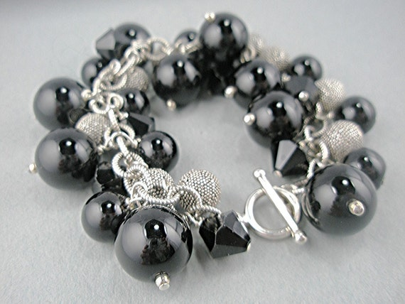 Black Onyx and Black Crystals on Sterling Silver Bracelet