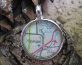 Hayward Wisconsin Map Pendant or Key fob