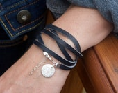 Fine Silver Circle Charm and Leather Bracelet - Navy Leather - Five Wraps