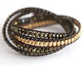 Four Wrap Leather and Bead Bracelet with Bronze Clay Button