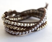 Triple Wrap Leather Bracelet with Pearls and Sterling Silver Beads - Handmade Fine Silver Button