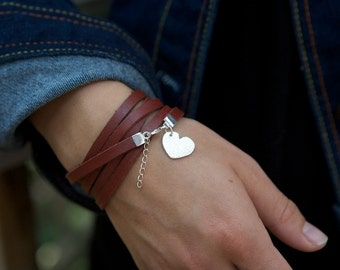 Fine Silver Heart Charm Leather Wrap Bracelet Valentines Day Gift for Her Mother Girlfriend Wife Wide Leather Multi Wrap Hand Stamped or Not