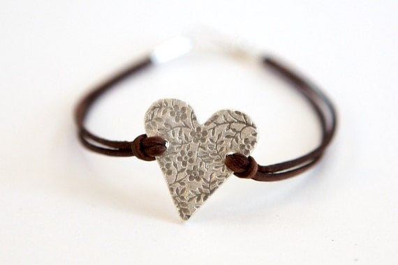 Simple Leather Bracelet with Fine Silver Heart Charm