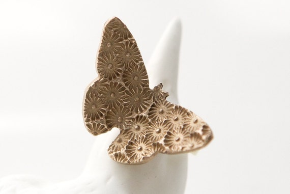 Bronze Clay and Brass Butterfly Ring - Starburst Pattern