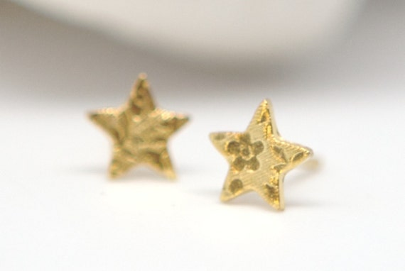 24K Gold Vermeil Starts  - Post Earrings - Small Floral Design