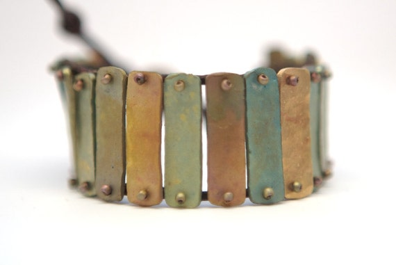 Bronze Patina and Leather Wrap Bracelet - One of a Kind - OOAK