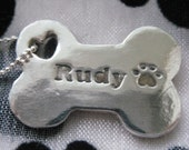 Personalized Silver Dog Bone Pendant with Your Dog's Name