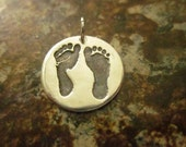 Custom Silver Baby Footprint Charm / Pendant Made from Your Baby's Footprint - Custom and Personalized