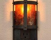 Forged Steel Night Light with amber mica shade