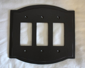 Hand Forged Wrought Iron Switchplate Cover ~ Triple