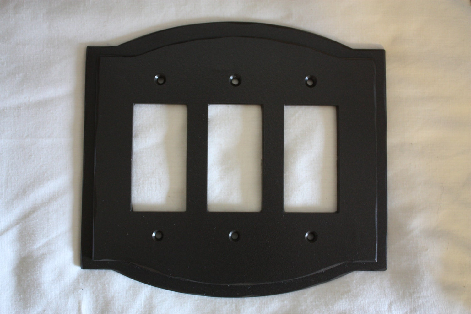 Hand Forged Wrought Iron Switchplate Cover Triple