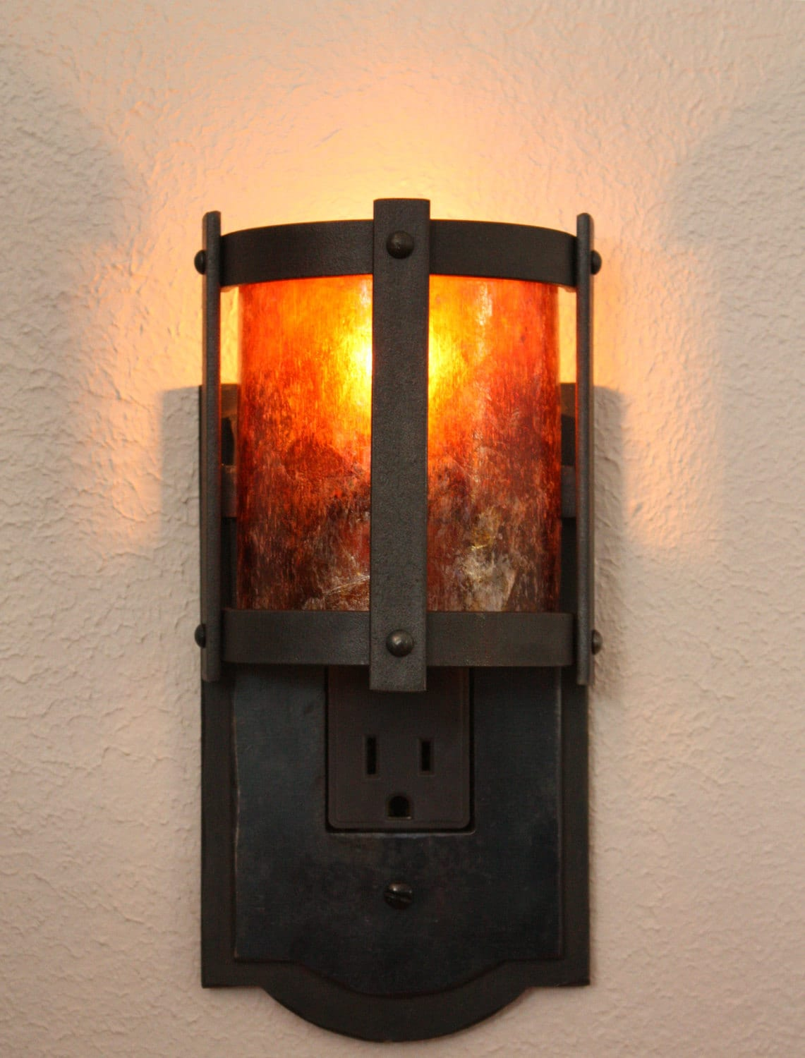 forged steel night light with amber mica shade - Decorative Night Lights