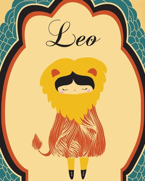 Digital Print Leo Zodiac Illustration Art Print by ParadaCreations