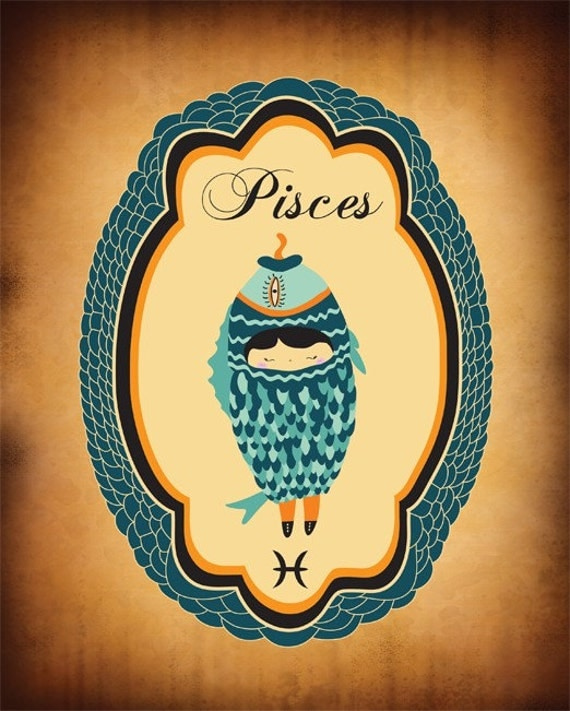 Pisces Zodiac Sign Indie Art Print, Pisces Poster, Digital Print Wall Decor, Artwork of Pisces Astrological Sign, Pisces Constellation