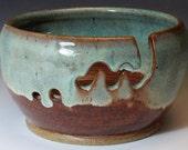 Bridges Pottery Yarn Bowl Brown and Green Knitting Bowl Custom Order