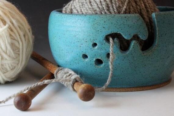 Bridges Pottery Large Yarn Bowl Large Knitting Bowl Turquoise Showcased by Vogue KNitting CUSTOM ORDER