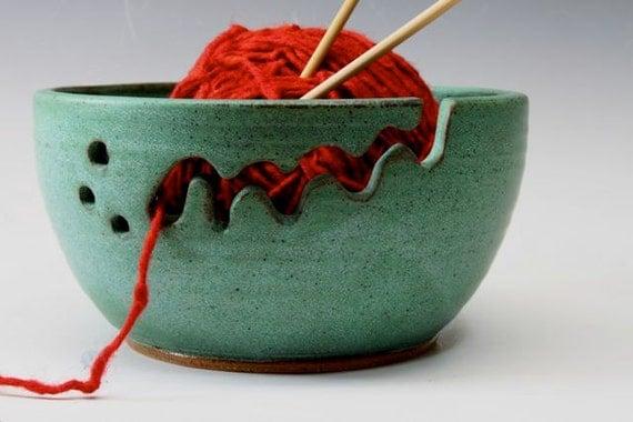 Ceramic Yarn Bowl - Knitting Bowl Weathered Pattina Green  Regular Size CUSTOM ORDER