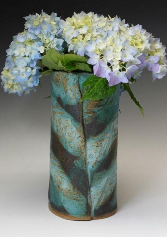 Bridges Pottery Turquoise, Green,Black Vase