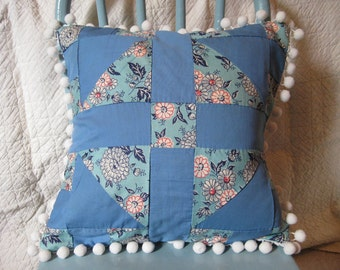 Vintage Quilt Square Pillow Cover