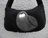 Black Owl - Boiled Wool Applique Purse - IN STOCK