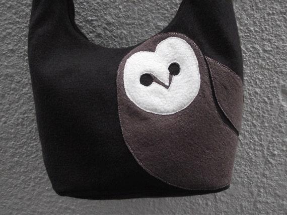 Brown Owl Boiled Wool Tote Bag