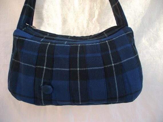 McMacFling Little Purse - tartan - kilt - upcycled - pleated - wool - blue