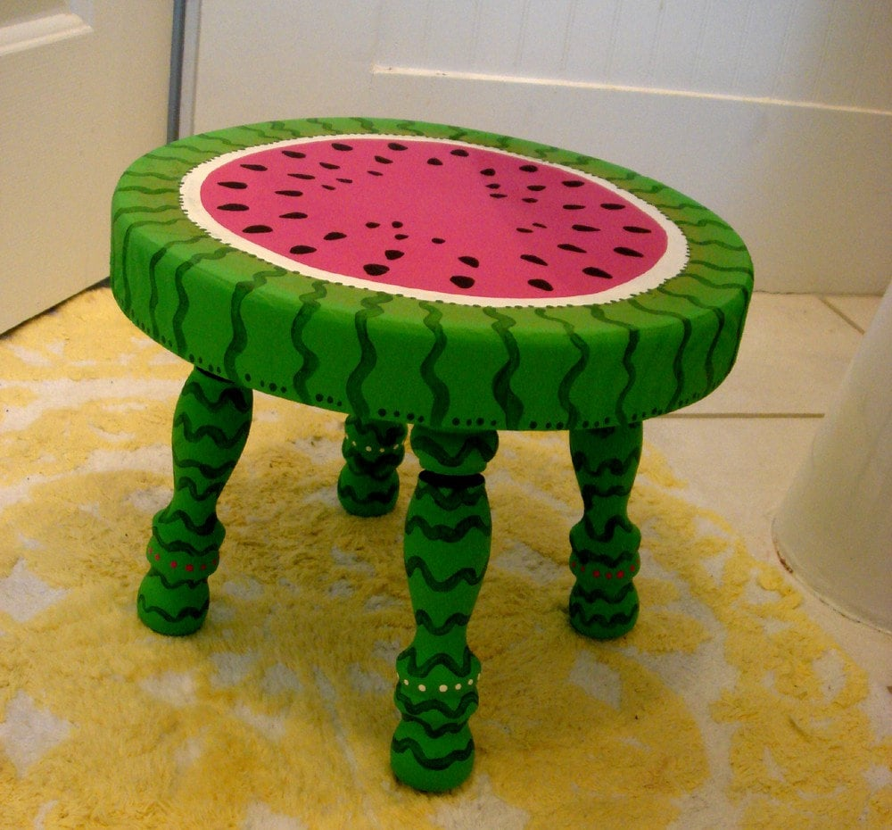 Solid Wood Hand Painted Baby Step Stool Watermelon