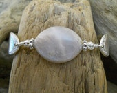 Spoon Bracelet - Devonshire 1938 Silver Plated Spoon Bracelet with Pink Moonstone