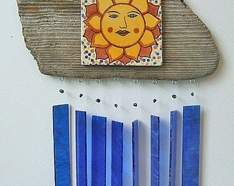 COBALT and SUNSHINE - Windchimes on Driftwood with Smiling Sun Face Tile