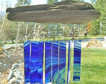 Cobalt Blue at it's best - Baroque Glass and Driftwood Windchime - Soothing