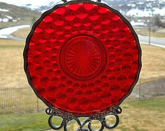 Ruby Bubble - Antique saucer given new life as a Windchime