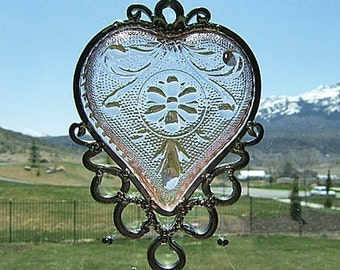 My Blushing Heart - Antique Heart Bridge Set Dish Upcycled into a Windchime