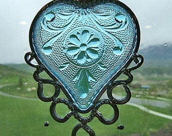 Azure Love - Retro heart-shaped dish upcycled into a Windchime
