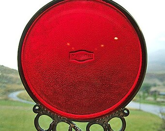 Recycled Ruby Railroad Lantern Lens Wind Chime