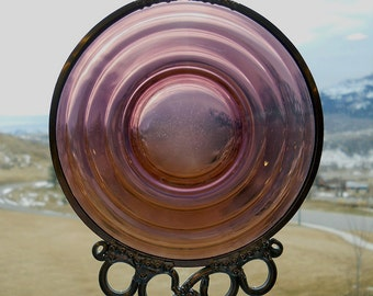 Deep Moon - Depression Glass Plate Upcycled into a Windchime