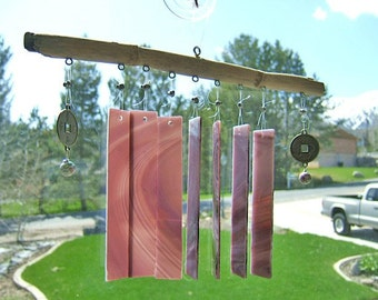 Purple Pagoda - Glass and Driftwood Windchimes with Exotic Asian Flavor