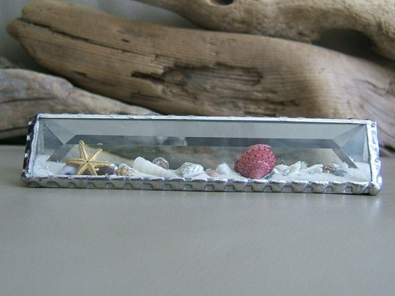 Beach by the Inch - Bevelled Glass Pyramid - SAND GLOBE - 1 inch by 5 inches