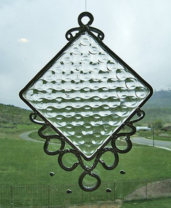 Vintage Bubbles - Antique Window Tile Upcycled into a Windchime