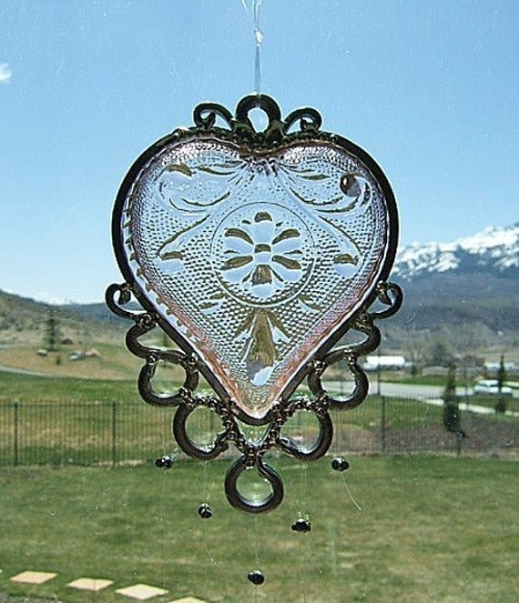My Precious Pink Heart - Antique Heart Bridge Set Dish Upcycled into a Windchime