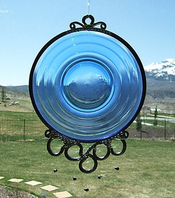 Blue Moon - Depression Glass Plate Upcycled into a Windchime