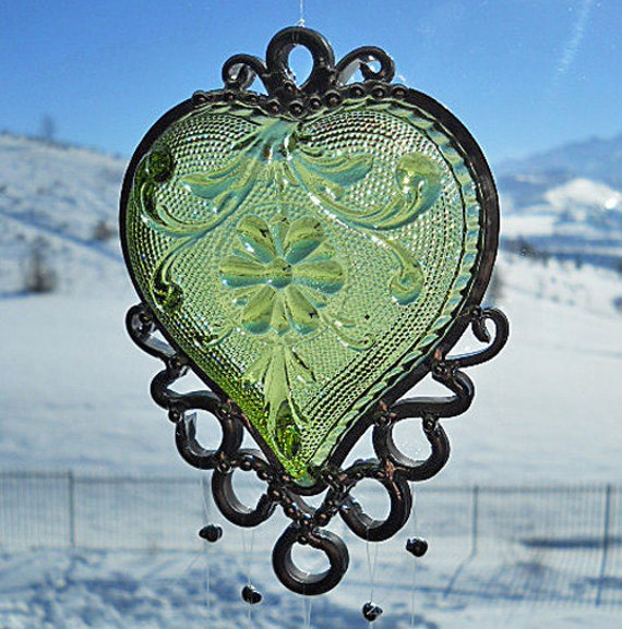 My Envious Heart - Vintage dish given new life as a Windchime