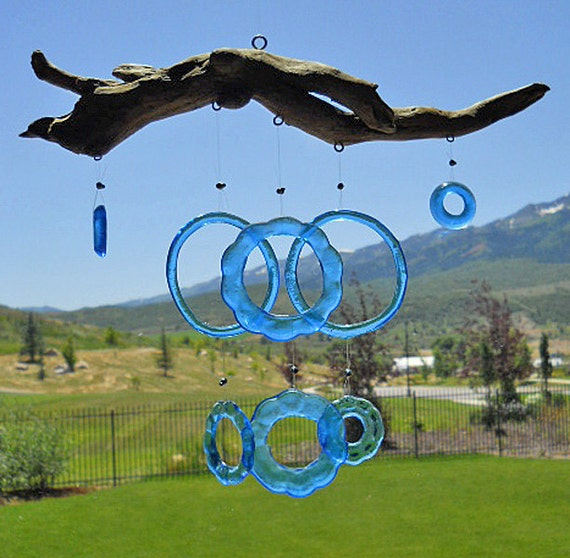 Capri Blue Bottoms Up -  Wine Goblet Wind Chime