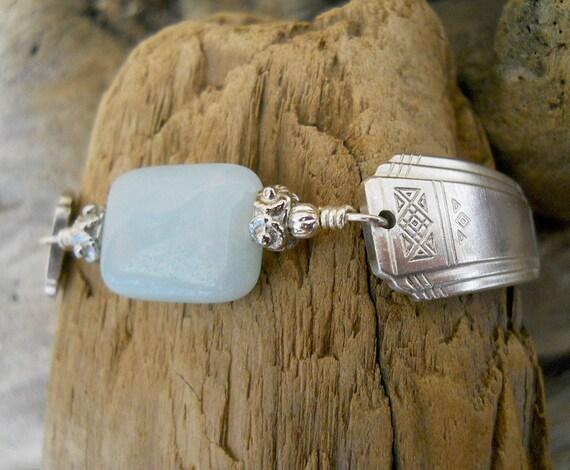 Spoon Bracelet - Skyline 1930 Silver Plated Spoon Bracelet with Amazonite Bead