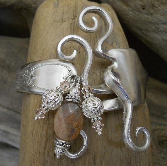 Fork Bracelet - Newport 1946 Silver Plated Fork Bracelet with Sunstone and Swarovski Crystals